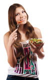 Girl holding a bawl with salad Stock Photo