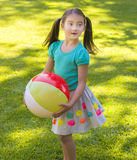 Girl Holding Beach Ball Royalty Free Stock Image