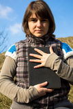 Girl Holding Bible Close Stock Image