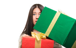 Girl holding a big box off gift Stock Photo