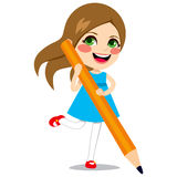 Girl Holding Big Pencil Royalty Free Stock Photos