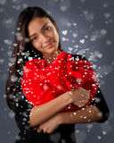 Girl Holding a Big Plush Heart Royalty Free Stock Photography
