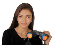 Girl Holding Binoculars Stock Photo