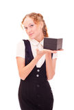 Girl holding black box Stock Photo