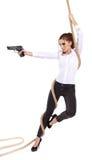 girl holding a black gun stock photos
