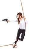 Girl holding a black gun Royalty Free Stock Photos