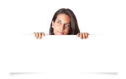 Girl holding blank banner Royalty Free Stock Photos