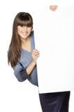 Girl holding blank banner stock images