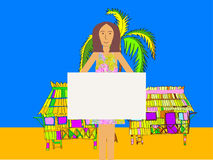 Girl Holding a Blank Banner With Beach Background Stock Photos