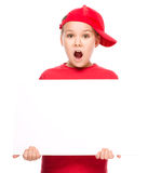 Girl is holding blank banner Royalty Free Stock Photos