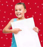 Girl is holding blank banner Royalty Free Stock Image