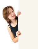 Girl holding a blank billboard Stock Photography