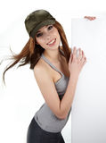 girl holding a blank billboard. Stock Image