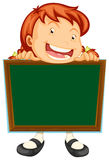 Girl holding blank blackboard Royalty Free Stock Images