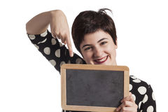 Girl Holding Blank Blackboard on white Royalty Free Stock Photography