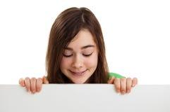 Girl holding blank board royalty free stock photos