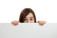 Girl holding blank board Stock Photo