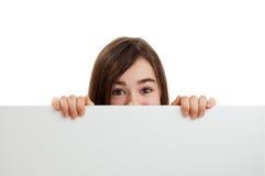 Girl holding blank board stock photo