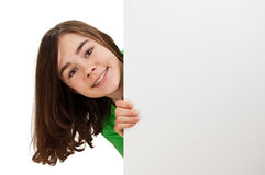 Girl holding blank board royalty free stock photos