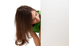 Girl holding blank board stock images
