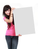 Girl holding a blank board Royalty Free Stock Photo