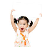 The girl holding blank board Stock Photo