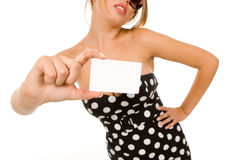 Girl holding blank business card Stock Images