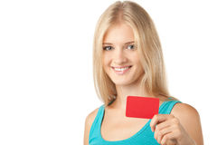Girl holding blank card Stock Photos