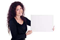Girl Holding Blank Card Royalty Free Stock Image