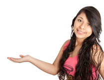 Girl holding blank copy space Royalty Free Stock Photo