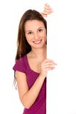 Girl holding blank placard royalty free stock image