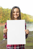 Girl Holding Blank Placard Concept Stock Photo