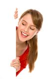 Girl holding blank poster Royalty Free Stock Photography