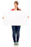 Girl holding blank poster stock photography