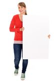 Girl holding blank poster Royalty Free Stock Photo