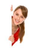 Girl holding blank poster stock images