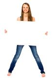 Girl holding blank poster Royalty Free Stock Photos
