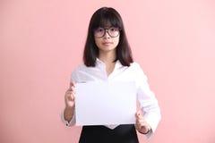 Girl holding blank sheet Royalty Free Stock Image