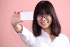 Girl holding blank sheet Royalty Free Stock Photo