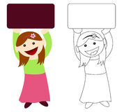 Girl holding blank sign. Smiling girl holding a blank sign with copy space for your text or image Stock Image