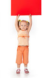 Girl holding blank sign Royalty Free Stock Photo