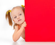 Girl holding blank sign Royalty Free Stock Image