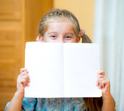 Girl holding blank sign Stock Photo