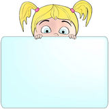 Girl holding a blank sign for your message Royalty Free Stock Image