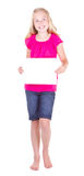 Girl holding a blank white paper Royalty Free Stock Image