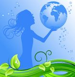Girl holding blue earth Royalty Free Stock Photo