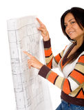 Girl holding blue prints Royalty Free Stock Images