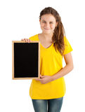Girl holding board Royalty Free Stock Images