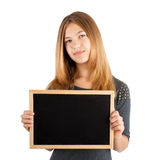 Girl holding board Royalty Free Stock Photo