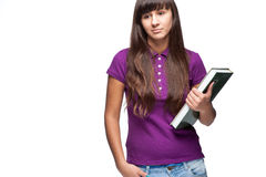 Girl holding book Royalty Free Stock Photo
